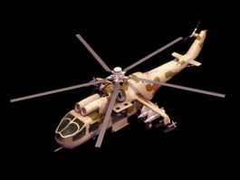 Mi-24A Hind-B attack helicopter 3d model