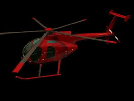 Hughes 500D utility helicopter 3d model
