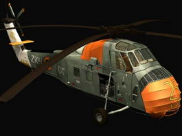 UH-34 choctaw helicopter 3d model