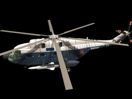 Super Frelon military helicopter 3d model