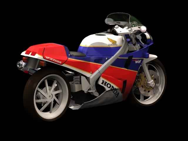 Honda VFR750F motorcycle 3d model 3dsMax files free download