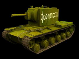 KV-2 Heavy artillery tank 3d model