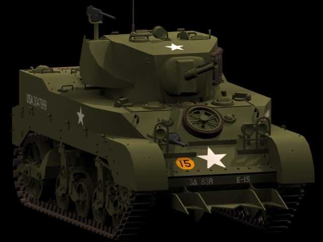 M5A1 Light tank 3d rendering