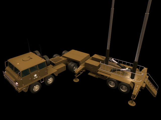 Patriot surface-to-air missile system 3d rendering