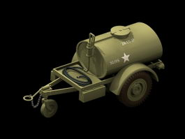 Military vehicle trailer water tank 3d model