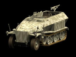 Sd.Kfz. 251 light armoured halftrack 3d model