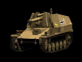 SdKfz 124 Wespe self-propelled artillery 3d model