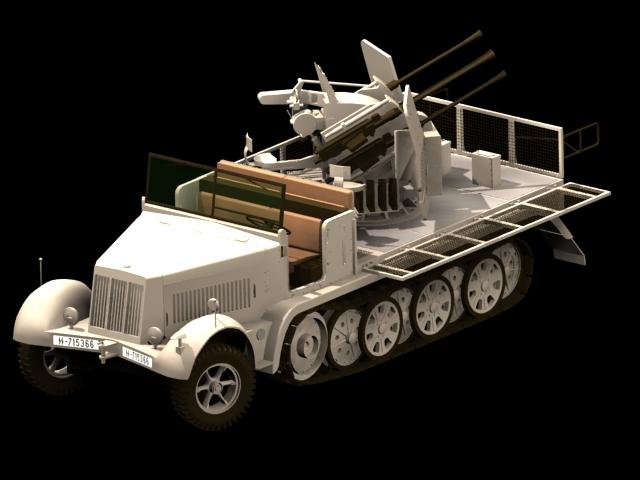 SdKfz 7 Half-track artillery tractor 3d rendering