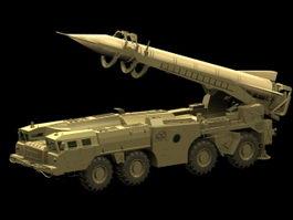 Scud tactical ballistic missile 3d model