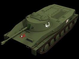 PT-76 light tank 3d model