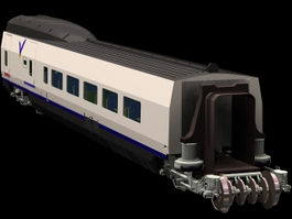Passenger rail car 3d model