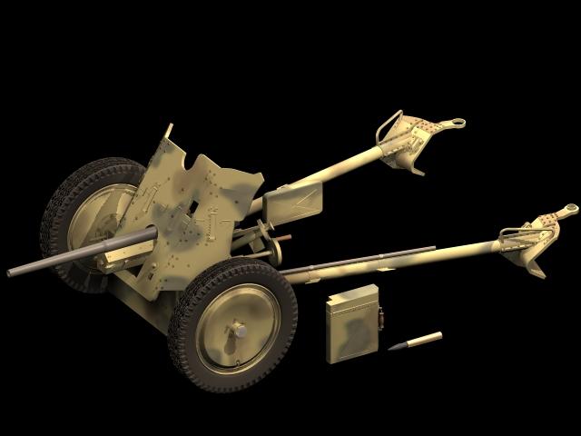 German 50 Mm Anti Tank Gun: Pak 36 Anti-tank Gun 3d Model 3dsmax Files Free Download