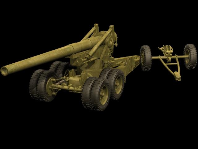 155-mm Gun M1 field artillery 3d rendering