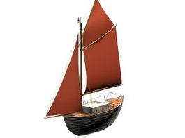 Sloop sail boat 3d model