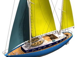 Moonlight schooner sailing vessel 3d model