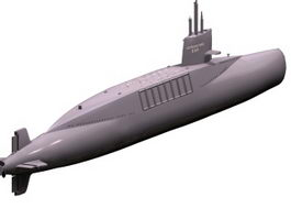 Le Redoutable S611 missile submarine 3d model