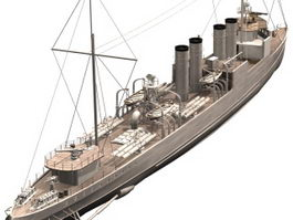 HMS Campbeltown destroyer 3d model
