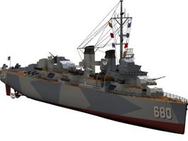 USS Fletcher destroyer 3d model