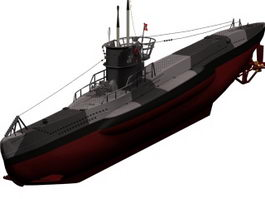 German U-boat submarine 3d model