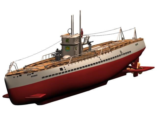 USS Argonaut V-boat submarine 3d model