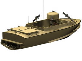 Small motor gun boat 3d model