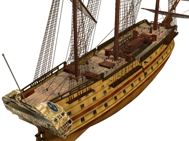 French Glorieux warship 3d model