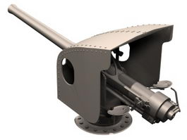 4 inch naval gun 3d model