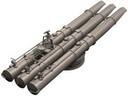 3-cell torpedo launcher 3d model