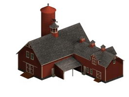 Half-timbered barn 3d model