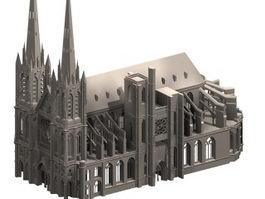 Clermont cathedral gothic architecture 3d model