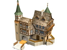 German town architecture 3d model