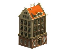 Traditional German hotel building 3d model