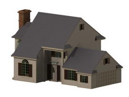Modern residential house 3d model