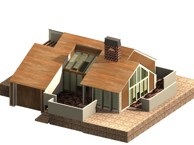 Ordinary 3d House Modeling Part - 7: One-story Dwelling House 3D Model