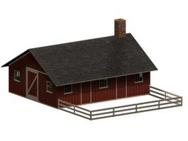 Piggery and poultry farm building 3d model