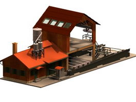 Sawmill workshop building 3d model