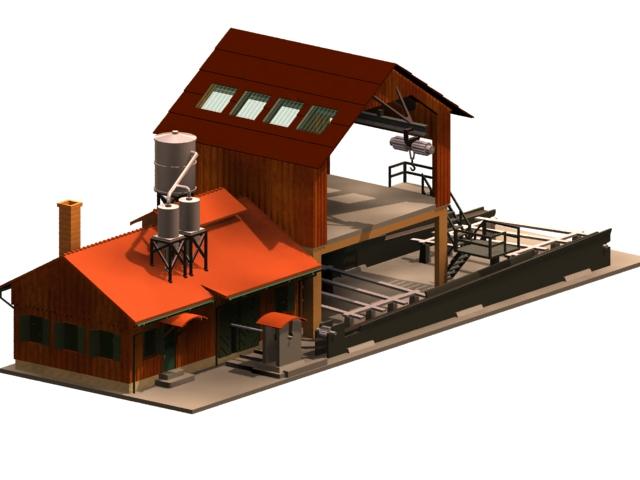 Sawmill workshop building 3d model 3dsmax files free download