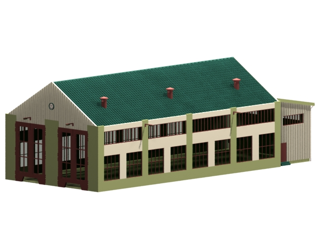 General industrial factory building 3d model