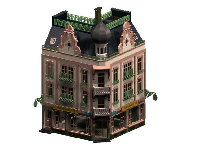historic townhouse 3d model 3dsmax files free download modeling 11062 on cadnav. Black Bedroom Furniture Sets. Home Design Ideas