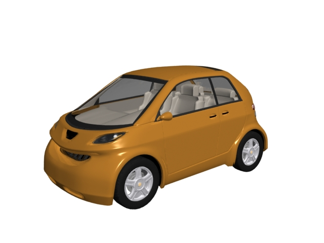 Bubble car 3d rendering