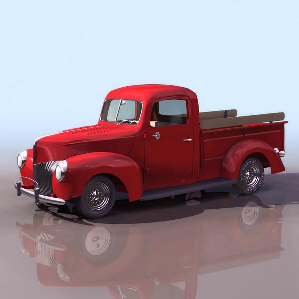 1940s ford pick up truck 3d model 3ds files free download modeling 11287 on cadnav - Pick up mobel kiel ...