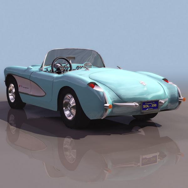 1954 Chevrolet Corvette Convertible 3d Model 3ds Files Free Download