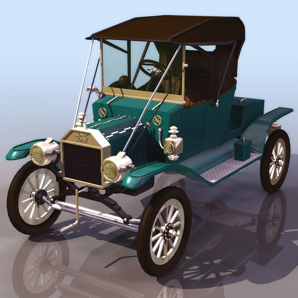 1913 Ford Model T Touring Car 3d Model 3ds Files Free Download