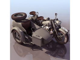BMW R75 three-wheel motorcycle 3d model
