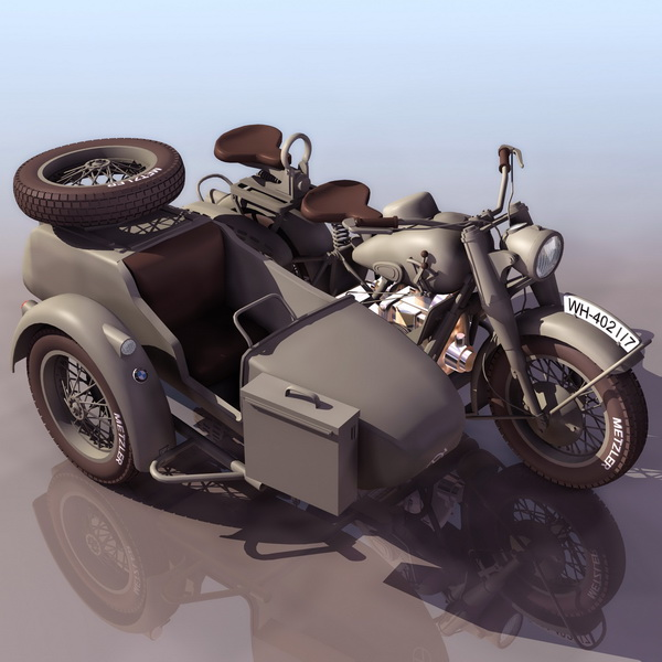 BMW R75 three-wheel motorcycle 3d model - CadNav