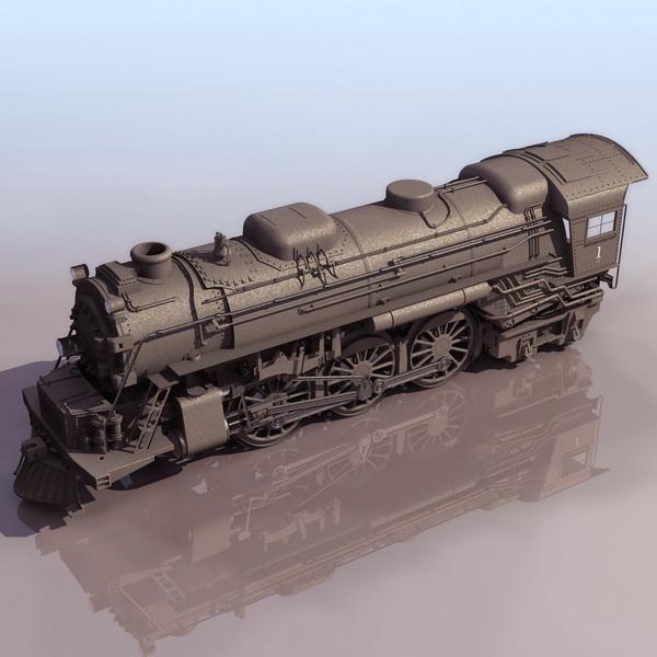 Vintage Steam Locomotive 3d Model 3ds Files Free Download