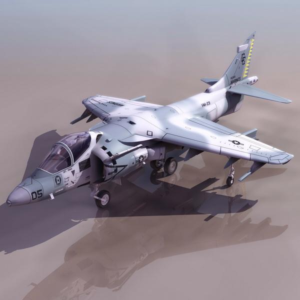 Harrier Jump Jet Strike Aircraft 3d Model 3DS Files Free