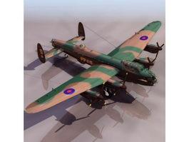 Avro Lancaster heavy bomber aircraft 3d model