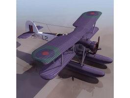 Swordfish torpedo bomber biplane 3d model