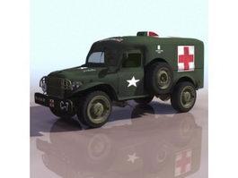 WWII military ambulance 3d model